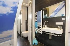 luxe badkamer met wastafel en gescheiden toilet