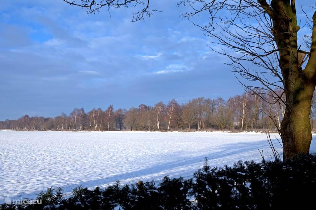 Zicht op besneeuwde landerijen en natuurpad