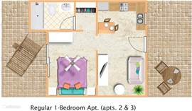 Plattegrond Appt.#2 & #3 (Regular 1-bedroom appt).