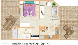 Plattegrond Appt.#4 (Regular 1-bedroom appt).