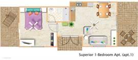 Plattegrond Apt.#1 (Superior 1-bedroom apartment)