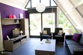 De lichte woonkamer is volledig opnieuw ingericht in 2013.