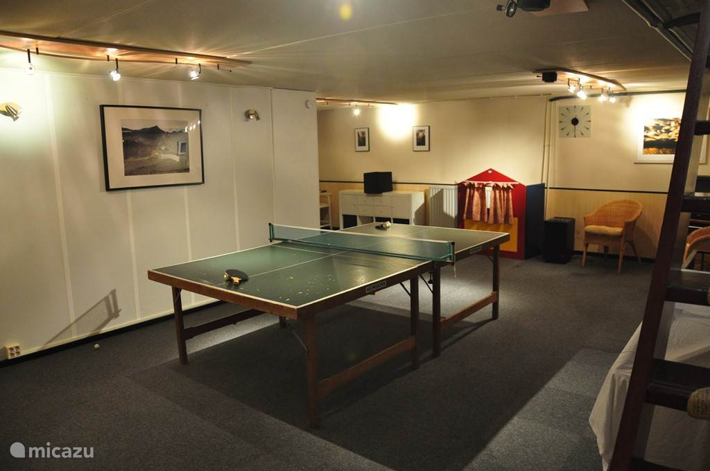 De ruime speelkelder (50m2) met tafeltennis, tafelvoetbal, mid-size snookertafel, sjoelbak, poppenkast, videohoek, spelletjes, speelkeukentje, winkeltje en ander speelgoed.