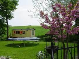 royale omheinde tuin met speelgelegenheid voor de kinderen. Ligbedden en tuinmeubilair. Vrij uitzicht en directe aansluiting op wandel en fietsroutes