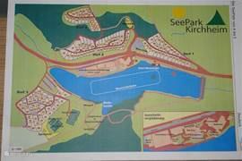 Een plattegrond van het Seepark, ons huis staat in Dorp 3, nr. 114.