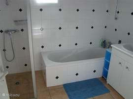 Our spacious bathroom with shower, bathtub and washing machine.
