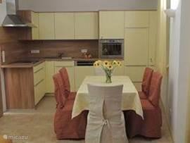 Volledig uitgeruste keuken.  Incl. Vaatwasser, combi-oven,electrische kookplaat,  wasmachine en droger.