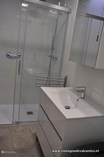 badkamer met wastafelmeubel. spiegelkast, toilet, ruime douchehoek met regendouche