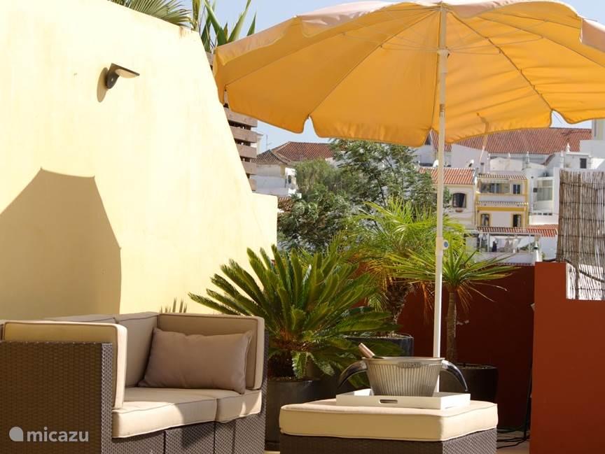 Rondom terras met ligstoelen om zowel in de zon als in de schaduw te vertoeven.