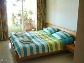 slaapkamer met 2 persoonsbed en uitzicht op het terras