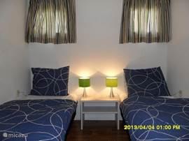 De kleine slaapkamer heeft 2 eenpersoonsbedden van 80x200 cm met leeslampjes. Het bedlinnen kunt u huren bij de receptie.(verplicht)