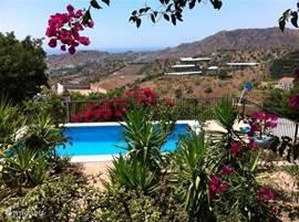 Zwembad en uitzicht vanaf het overdekt terras.
