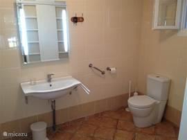 Ruime badkamer voorzien van douche, wastafel en toilet. Ook is er een wasmachine aanwezig.