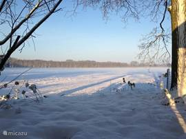 Winter uitzicht vanaf de veranda