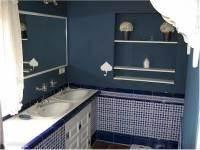 De badkamer met douche, dubbele wasbak en toilet.