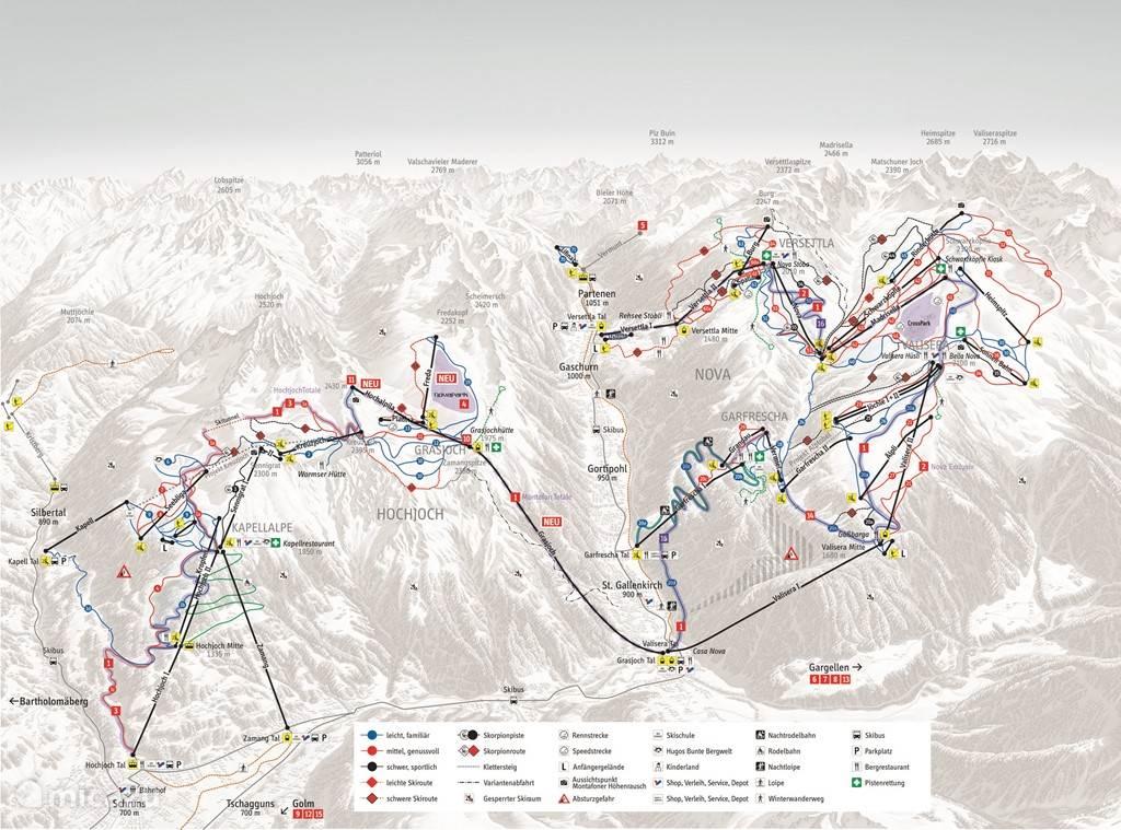 Skigebied sillvretta en Hoch Joch, het grootste aaneengesloten skigebied van Vorarlberg.