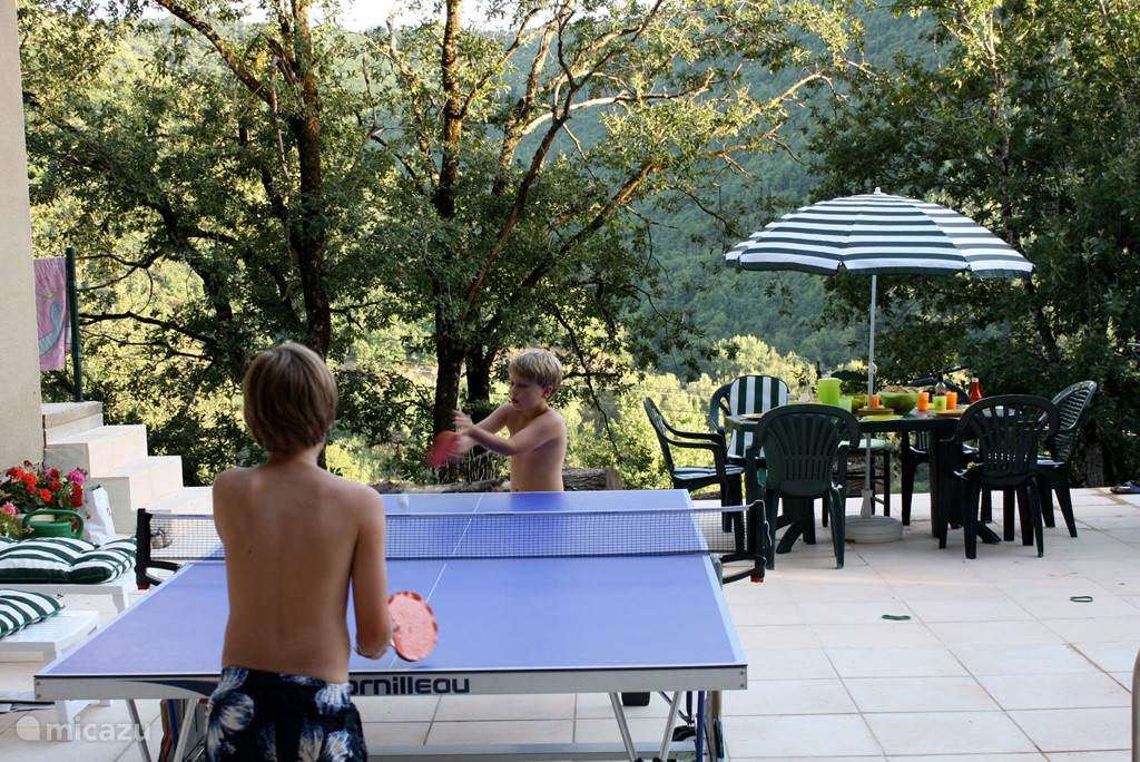 On the terrace by the pool, you can also play table tennis.