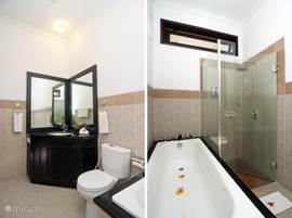 Bathroom, aangrezend to 1 bedroom located and equipped with toilet, bath and shower, bathroom cabinet, hairdryer, etc.
