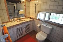 Charmante badkamer met ligbad en toilet.