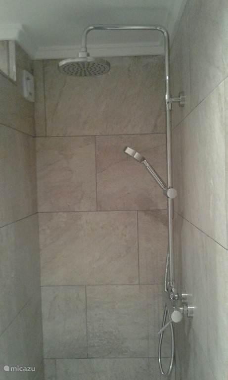 Badkamer op de 1e verdieping voorzien van een douche, WC, wastafel, planchet, spiegel.