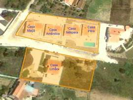Overzicht van de ligging van de verschillende huizen