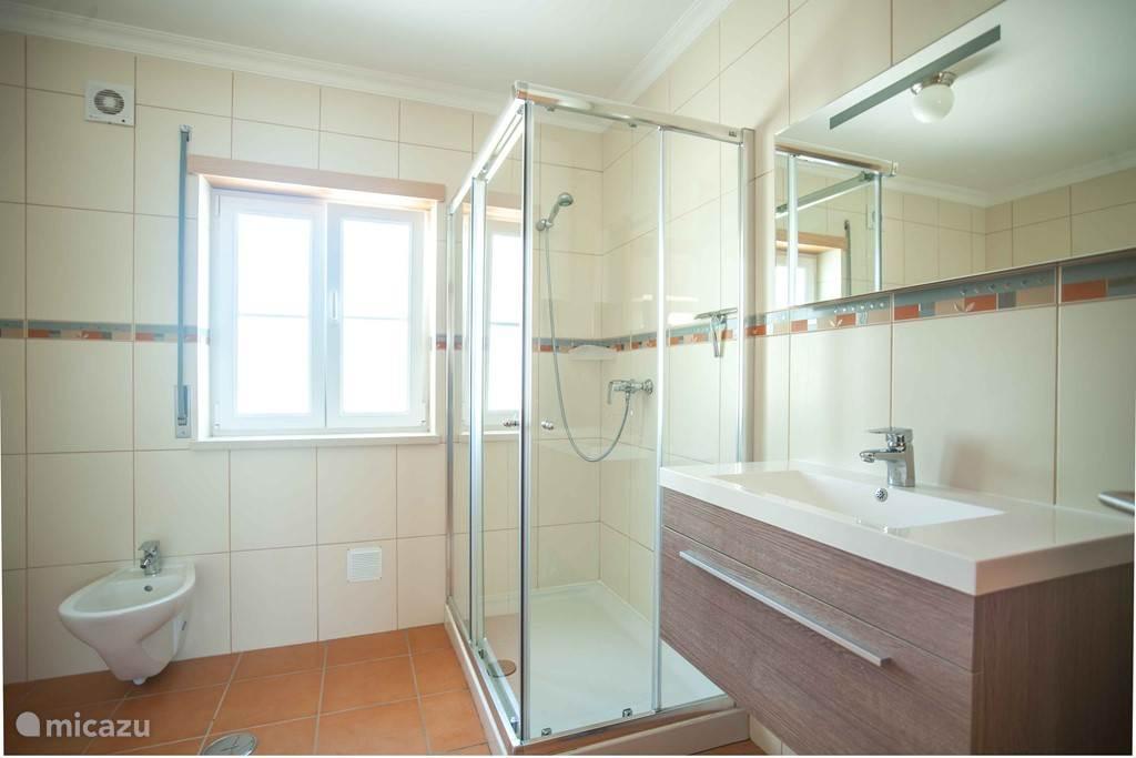 De badkamer met bad, douche, wastafel, bidet, en apart toilet