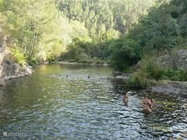 Zwemmen in de rivier bij Arganil