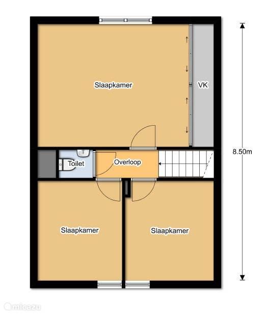 Verdieping met 3 slaapkamers en 2e toilet