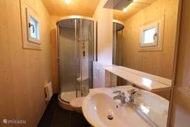 The second bathroom is on the ground floor and has a shower, sink and toilet.