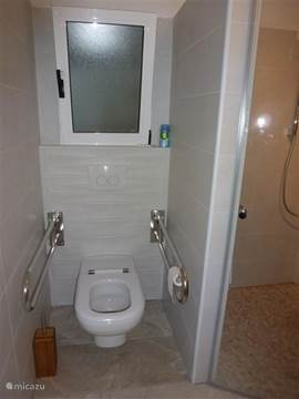 Het toilet heeft een verlengde pot en is voorzien van beugels.