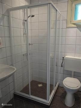 badkamer voorzien van wastafel douche en toilet geheel betegeld