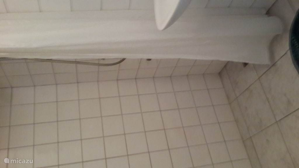 Badkamer met wc, wastafel en douche met warm en koud water