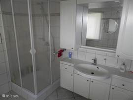 de badkamer op de benedenverdieping hier vindt men ook de wasmachine en wasdroger beiden voor 7 kg wasgoed