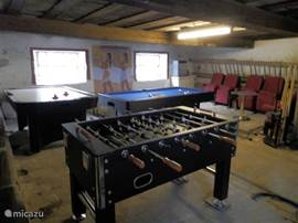 The play barn with air hockey, pool table and table football game