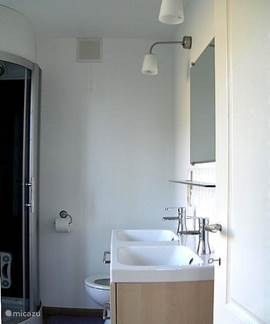 Your bathroom with double sink, toilet and shower.