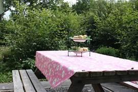 Op een van de 2 terrassen heerlijke picknicktafel