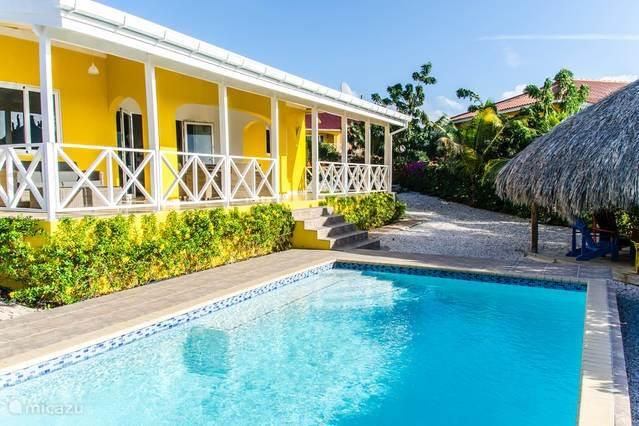 Achterzijde van de woning met een ruim terras en voorzien van een  zwembad van 7 m. x 4 m. met een palapa waar u fijn in de wind kan zitten.
