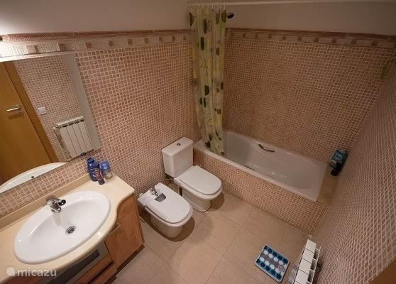 De compleet ingerichte badkamer met toilet, bidet, douche met ligbad en wastafel is ruim en licht. in het wastafelmeubel ligt de föhn en het toiletpapier.