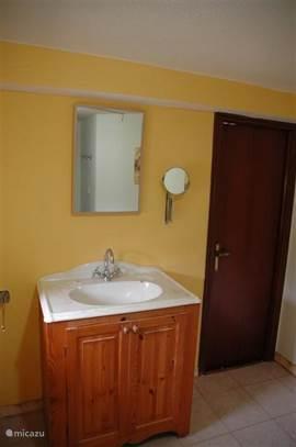 Badkamer 2 met douchecabine en wastafel.