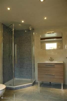 Badkamer 1, geheel gerenoveerd in 2013. Met luxe ligbad, luxe douchecabine, wastafel en toilet.