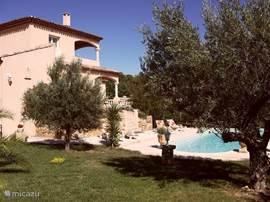 Het huis met de tuin en het zwembad.