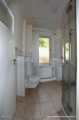 Bathroom with shower, toilet and washbasin.