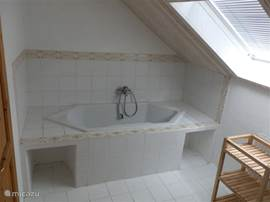 The bathroom on the floor is equipped with a bathtub, sink and toilet.