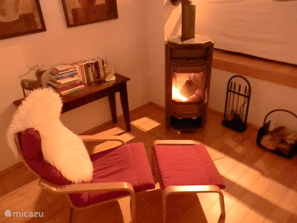 Een houtkachel geeft sfeer in de woonkamer.  Hout is aanwezig.