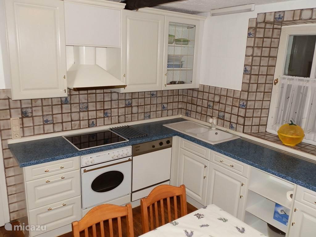 De volledig uitgeruste keuken met vaatwasser, oven en micro-wave.