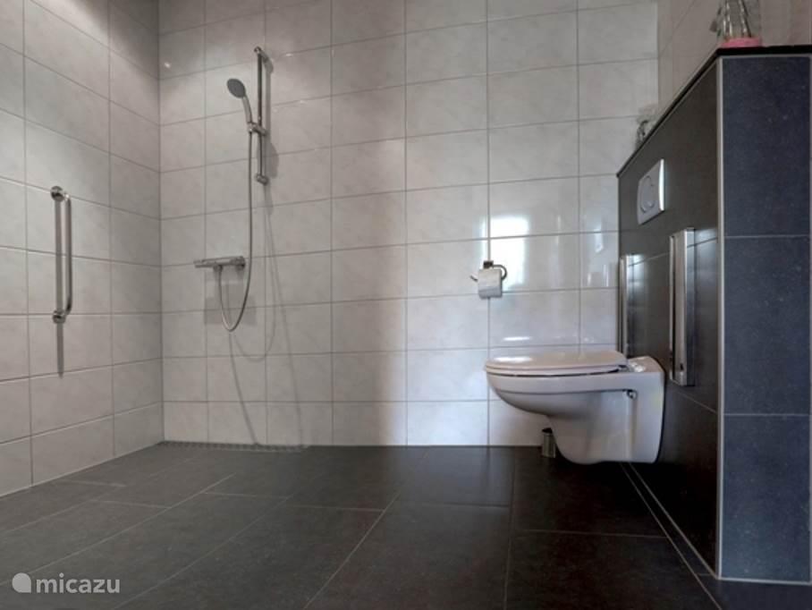 Badkamer begane grond. Douche, toilet, verstelbare wastafel. Ook aangepast voor rolstoelgebruikers.Grote draaicirkel voor rolstoelgebruikers, ook is tillift en douchebrancard bruikbaar.