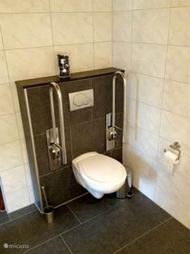 Toilet me afneembare beugels. Dus geen beugels nodig, dan worden deze van de muur genomen.