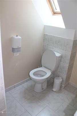 De slaapkamer heeft een directe verbinding naar de slaapkamer en is voorzien van douche, wastafel en toilet.