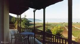 Het terras, of zo u wilt veranda, is geheel overdekt voor schaduw in de zomer. Het biedt uitzicht over de velden naar de zee en de stranden.