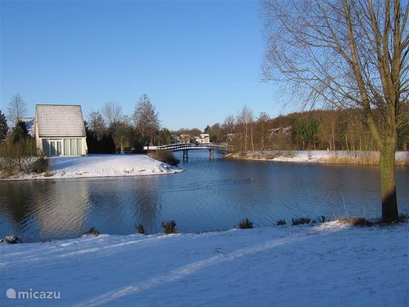 Ook in de winter is het uitzicht vanaf het terras en huiskamer een pracht.
